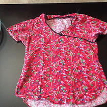 Red Floral Scrub Top Photo