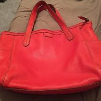 Red Fossil Leather Tote Bag W/ Storage Bag........    Photo