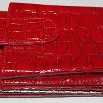 Red Glossy Faux  Croc Cell Phone Case Wallet  Photo