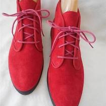 Red Granny Grunge  Suede Leather Ankle Boot Flat Lace Up New Keds 6.5 M Photo