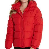 Red Guess Daya Nylon Puffer Jacket Coat Nwt M Photo