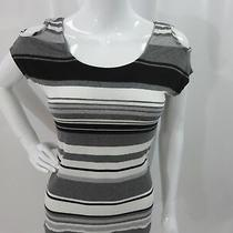Red Haute Black/gray/ White Striped Cold Shoulder Key Hole Top Shirt Size Xs Photo