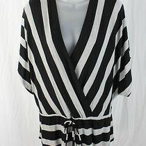 Red Haute Women's Black Gray Striped Surplice Bust Drawstring Waist Shirt Top M Photo
