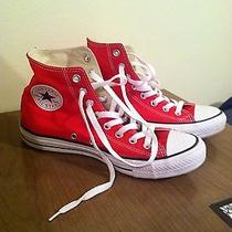 Red Hightop Converse Size 9 Unisex Worn Twice Like New Photo