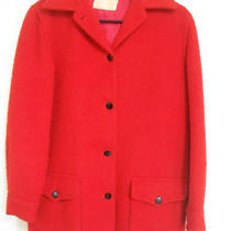 Red Hudson's Bay Blanket Coat From Genuine Point Fabric True Vintage Wool Coat Photo