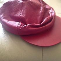 Red Ladies Leather Cap Hat One  Size by Newport News Photo