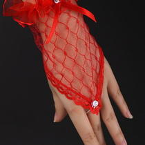 Red Ladies Satin Lace Fingerless Wedding Short Bridal Gloves Fancy Dress on Sale Photo