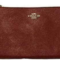 Red Leather Coach Zipper Enclosed Wallet Wristlet Clutch Photo