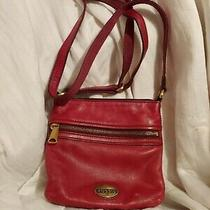 Red Leather Fossil Cross-Body Bag Purse Photo