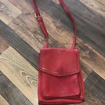 Red Leather Fossil Crossbody Purse Multiple Compartments Photo