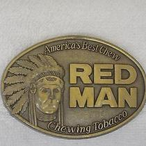 Red Man Chewing Tobacco Native American Chief Pinkerton Vintage Belt Buckle 1988 Photo