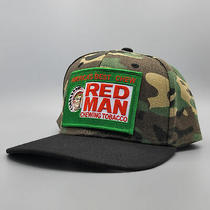 Red Man Trucker Hat Embroidered Vintage Patch on Camo Flat Bill Trucker Hat Photo