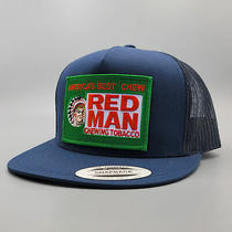 Red Man Trucker Hat Vintage Tobacco Patch on a High-Crown Snapback Flatbill Cap Photo