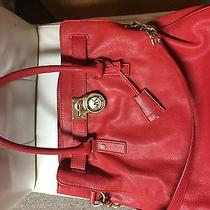Red Michael Kors Hamilton Tote With Gold Trim Photo