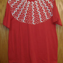 Red Patriotic Americana Fancy Holiday T Shirt- Blouse- Top  Large New Photo