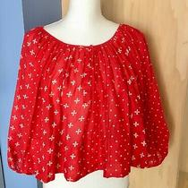 Red Patterned Peasant Top by Kopal Anthropologie - Size S Photo