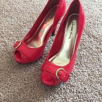 Red Peeptoe Shoes Photo