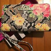 Red & Pink Yellow W/ Leopard Wristlet Betsey Johnson Floral Wallet New With Tags Photo