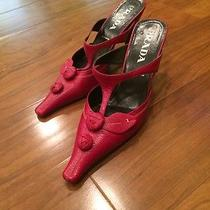 Red Prada Shoes Size 37.5 Made in Italy Vero Cuoio Photo