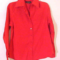 Red Shirt Lulu Alexander Button Down Blouse Long Sleeves Size 10 Top Photo