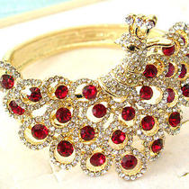 Red Swarovski Crystal Peacock Bracelet S Photo