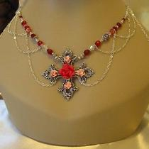 Red Swarovski Rose Goth Cross Silver Necklace/circlet Photo