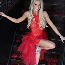 Red Teddy Lingerie Bodysuit Lace Floral Swarovski Rhinestones Sheer S/m T5060 Photo