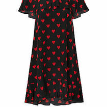 Red Valentino Women Dress Black Size 6 (It 44) Heart Flutter Silk 825- 910 Photo