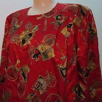 Red Vtg Jacquard Dress Boyer Antique Stage Coach Buggy Print 12 Usa Washable Photo