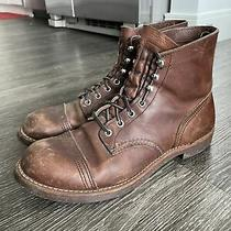 Red Wing 8111 Iron Ranger Amber Harness 9.5 D Brown Cap Toe Boots Photo
