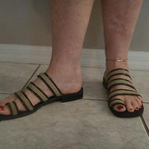 Reduced Bandolino Slide on Brown Natural Strappy Sandals - Sz 8.5 M - Awesome  Photo