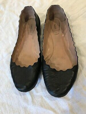 REDUCED! Chloe Scalloped Ballet Flats, Black, Size 38 or 8-8.5, Made in Italy Photo