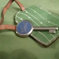 Reduced for Holidays--Fossil Luggage Tag & Fossil Silvertone Key W/blue Accents Photo