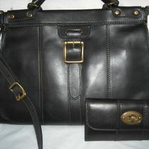 Reduced Fossil Set - Vintage Revival Black Leather Satchel & Wallet - Nwt Photo