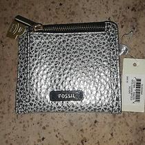 Reduced Nwt Fossil Logan Leather Bifold Wallet - Silver Metallic Photo