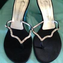 Reducedgiuseppe Zanotti Doppiato Nero Black Diamond Sandals Lacquer Heel W-9.5 B Photo