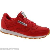 Reebok Cl Leather Clean Size 14 M Scarlet Red W/ Gum Sole Sneakers Mens Shoes Photo