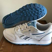 Reebok Classic Leather White and Blue Womens Running Shoes Dv8758 Size 9 Photo