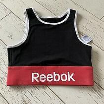 Reebok Crop Top Gym Yoga Fitness Black Logo Size Xs Photo