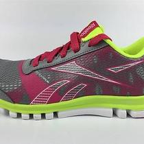 Reebok Girl's Sublite Duo Chase Shoes Size 3 Gray Pink Green Sneaker Nwob Photo