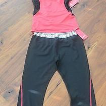Reebok Gym Running Tights Capri Pants and Top Set Outfit Kids M Womens Xs Photo