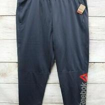 Reebok Joggers Mens 2xl Blue Fleece Lined Polyester Red Logo Jogger Pants New  Photo