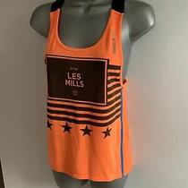 Reebok Les Mils Grey & Orange Workout Gym Racer Back Sports Vest Top Uk Size Xs Photo