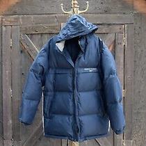 Reebok Mens  Jacket L Large Navy Blue Down Hooded Warm Photo