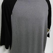 Reebok Men's Performance Muscle Shirt Small 3/4 Slv Athletic Top Black & Gray  Photo