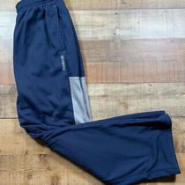 Reebok Mens Athletic Sweatpants Navy  Blue & Gray   Size Small. Euc. Photo