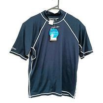Reebok Mens Rash Vest Size 2xl Navy Blue Short Sleeve Swim Surf Shirt Rashie Photo