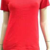 Reebok New Womens L Shirt Top Pull Over Crew Neck Solid Red Bright Chop 3t6rz1 Photo