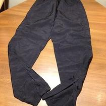 Reebok Rain Wind Pants Track Running Mens S Small Black Nylon Zippered Unlined Photo
