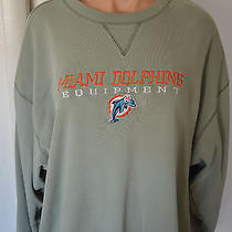 Reebok  Sweatshirt 3 Xl Long Sleeve Sweat Shirt Miami Dolphins Light Green Photo